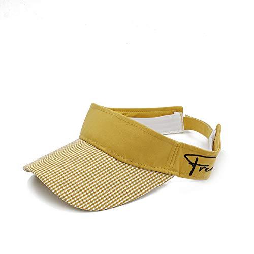 GUANGXINNI Women Summer Empty Roof Lattice Sunhat Visor Hat with Sunshade Beach Hat UV Protection Female Cap Sunhat,Yellow,One Size