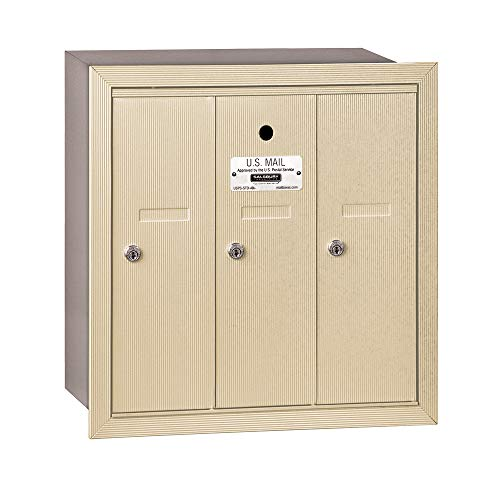 (Salsbury Industries 3503SRU Recessed Mounted Vertical Mailbox with USPS Access and 3 Doors, Sandstone)