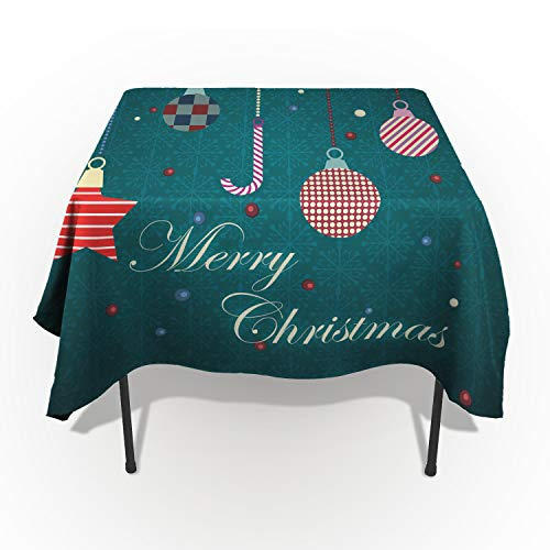 Edwiinsa Spillproof Washable Fabric Tablecloth, Merry Christmas Season