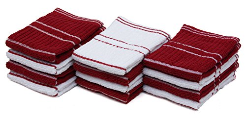 J&M Home Fashions Ribbed Terry Kitchen Dish Cloths  Absorben