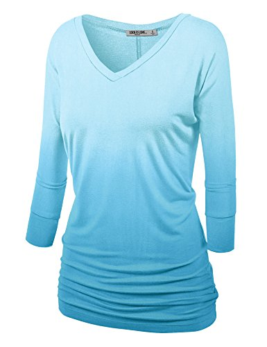 (WT1113 Womens V Neck 3/4 Sleeve Dip Dye Drape Dolman Top with Side Shirring XL AQUA)