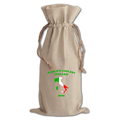 Mom Italian (World'S Coolest Italian Mom Cotton Canvas Wine Bag, Cotton Drawstring)