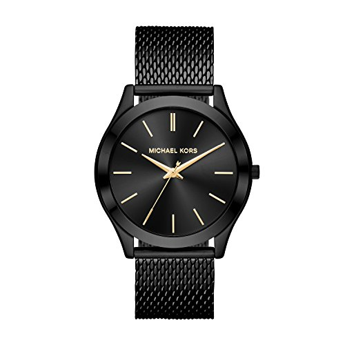 Michael Kors Men's Slim Runway Analog-Quartz Watch with Stainless-Steel Strap, Black, 22 (Model: MK8607) (Slim Runway Stainless Steel Watch)