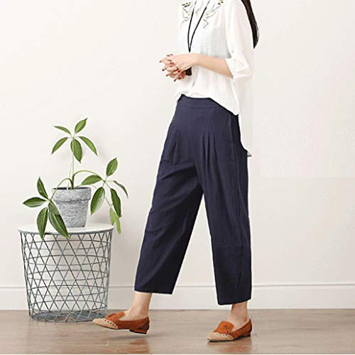 Haren Décontracté Naturel Pantalon Grande Taille Bleue Taille Lin Plus En Couleur Chettova Coton d5aaB1wx