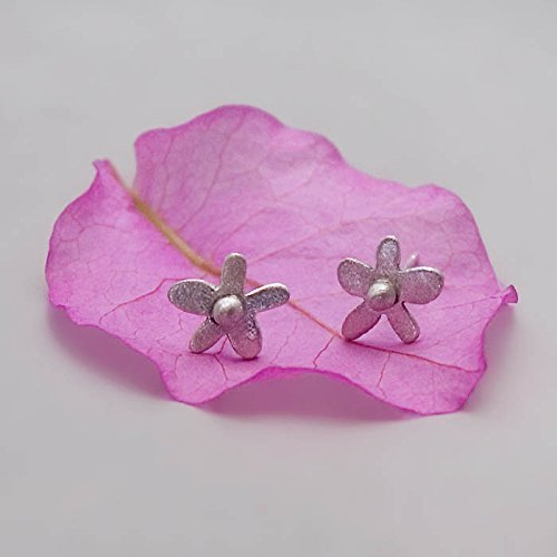 Sterling Silver Flower Stud Earrings - Designer Handmade Small Floral Posts (Earstud Post)