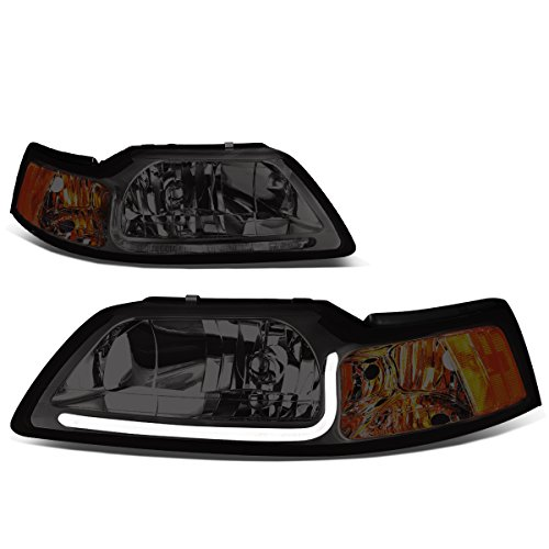 (Pair Chrome Housing Smoked Lens Amber Corner LED DRL Headlight For Ford Mustang )