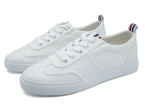 Señora Nvxie Compras Ocio Estudiantes De Negro Diarias Escuela Lona Cómodo White Movimiento Zapatos Blanco gdRwnaZdf