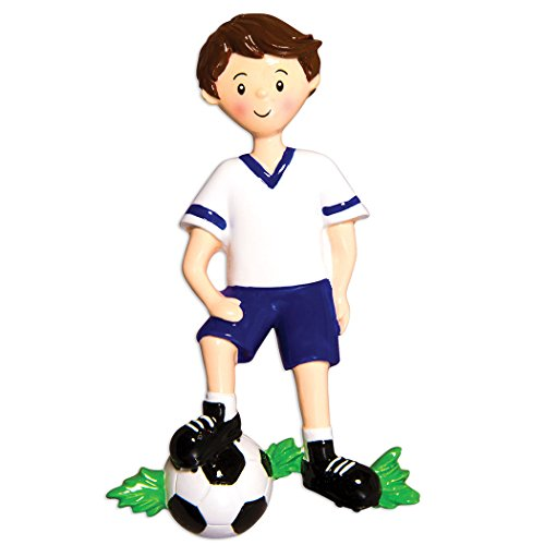 Personalized Soccer Player Christmas Tree Ornament 2019 - Boy in Uniform Dribbling Foot-Ball Score Athlete Coach Hobby College FIFA Grand-Son Profession Brunette Gift Year - Free Customization]()