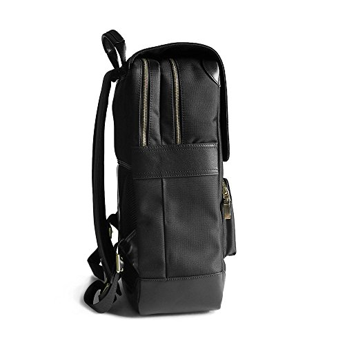 Waterproof Laptop Backpack 17-inch Leather Business Work College School Travel for Women / Men (Black) by Arden Cove (Image #3)