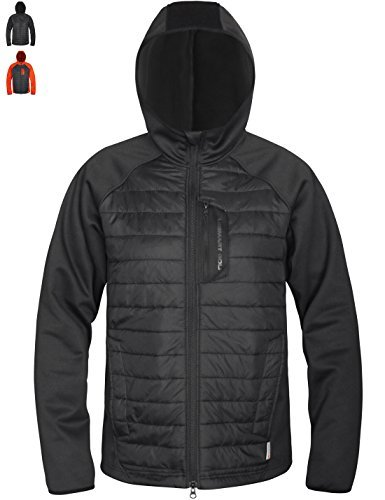 d42ac4b4872 Lesmart Men's Hybrid Jacket Insulated Rain Thermal Lightweight Fleece Lined  Coat Size M Black