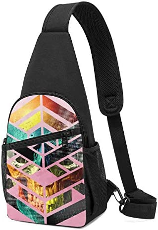 ボディ肩掛け 斜め掛け 頭蓋骨幾何学 ショルダーバッグ ワンショルダーバッグ メンズ 軽量 大容量 多機能レジャーバックパック