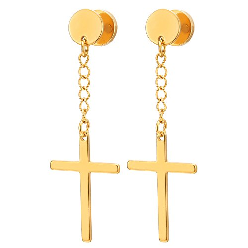 (Pair Gold Color Steel Circle Screw Stud Earrings with Dangle Cross for Men Women Boys, Screw Back )