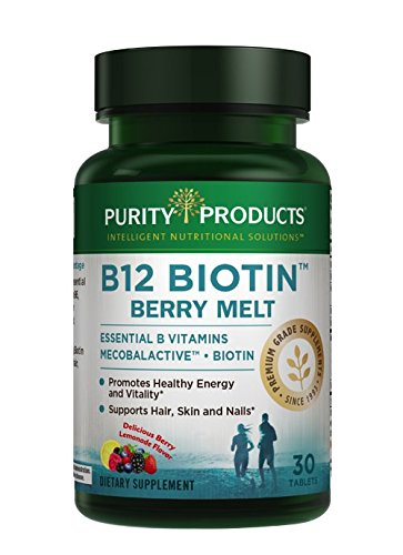 Hair, Skin + Nails Melt by Purity Products - 1000mcg Sublingual B-12 + 2500mcg Biotin Energy Berry Melt - Delicious Berry Lemonade Flavor w/Super Fruits - B12 Methylcobalamin - 30 Melting Tablets