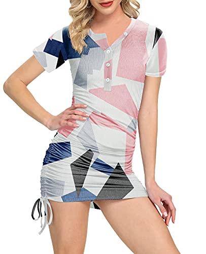 XCHQRTI Women's Drawstring Bodycon Mini Dress V-Neck T-Shirt Ruched Casual Summer Dresses Color Block M