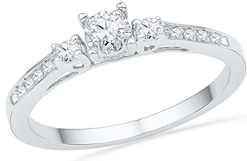 10kt White Gold Womens Round Diamond 3-stone Promise Bridal Ring 1/6 Cttw = 0.16 = Cttw (I1-I2 Clarity; H-I Color)