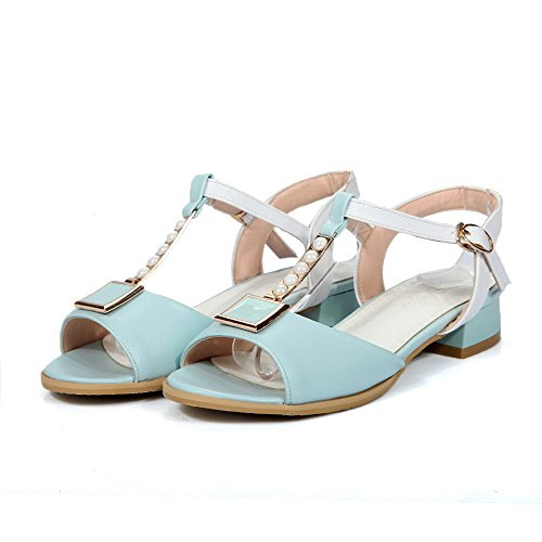 Amoonyfashion Fibbia Donna Open Toe Tacchi Bassi Assortiti Sandali Color Blu