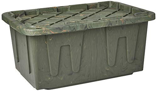 Homz Durabilt Tough Storage Tote Box, 27 Gallon, Camo With Lid, Stackable, 4-Pack -