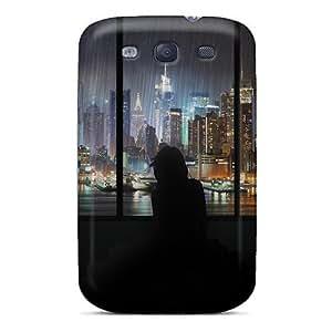 Touching Rhythms Manhattan In The Rain Thru A Window Durable Galaxy S3 Tpu Flexible Soft Case