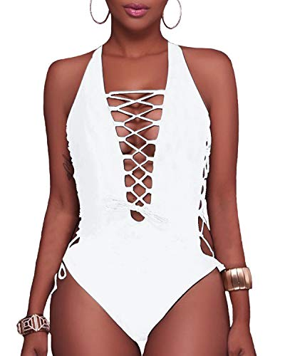 Holipick Women 1 Piece Sexy Lace up Racerback Monokini Plunge Deep V Neck High Leg Cutout Swimsuit Swimwear (S(US 4-6), White)
