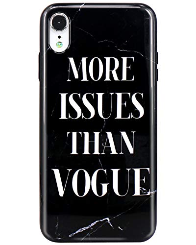 JIAXIUFEN Compatible iPhone XR Case Black Marble Issue Vogue Design Slim Shockproof Flexible Bumper TPU Soft Case Rubber Silicone Cover Phone Case for iPhone XR 2018 6.1 inch