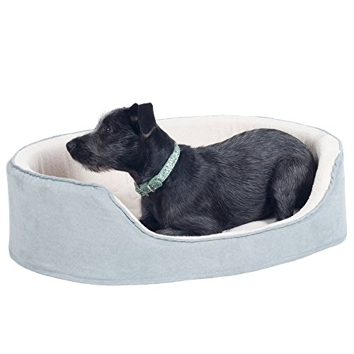 PETMAKER Large Gray Cuddle Round Suede Terry Pet Bed, 30 x 27 by PETMAKER