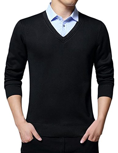 today-UK Men's Solid Fake Two-piece Shirt Collar Pullover Sweater Black