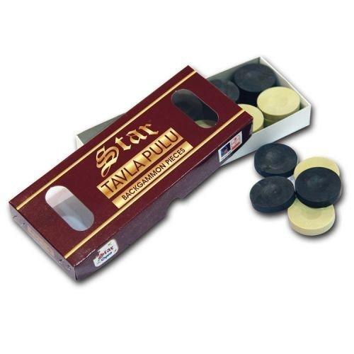 Turkish Premium Quality STAR Tavla Pulu Black White Backgammon Pieces Checkers Bethlehem Gifts TM