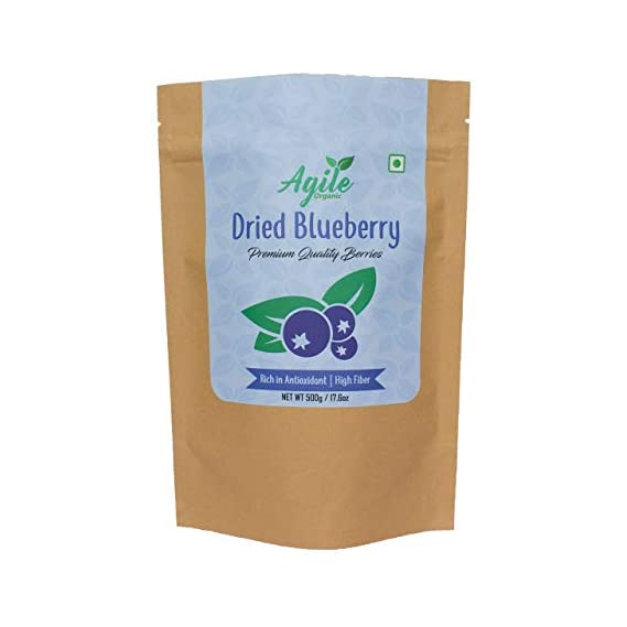Agile Organic Whole Dried Blueberries 500g | Unsweetened | Unsulphured | Naturally Sweet | Without Added Sugar