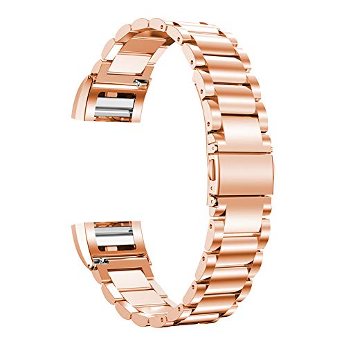 Oitom Stainless Steel Bands Compatilbe Fitbit Charge 2,Premium Stainless Steel SS Metal Replacement Watch Band Strap for Fitbit Charge 2 Smart Fitness Watch (Rose Gold with Diamond)
