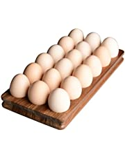 Acacia Wood Egg Tray, Designed by S1EGAN,18 Eggs, Rustic Wooden Egg Storage on Countertop, Egg Holder for Refrigerator, Charcuterie Board Cheese Serving Platter