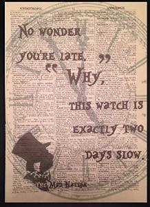 Mad Hatter Alice in Wonderland Quote Print Vintage Dictionary Page Picture Art