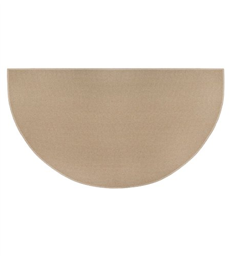Plow & Hearth Fire Retardant Fiberglass Half Round Hearth Fireplace Area Rug Polyester Trim Non Slip Mat Low Profile Protects Floors from Sparks Embers Logs 27 W x 48 L Tan (Fireplace Carpet compare prices)