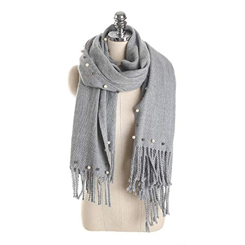 ANDANTINO Soft Warm Winter Scarf Faux Pearl Dotted Wraps Shawls (Light Grey) ()