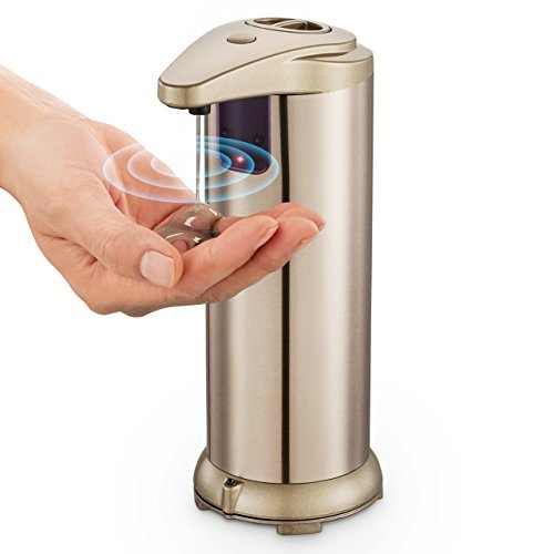Automatic Soap Dispenser, Touchless Stainless Steel Soap Dispenser with Sensor Fingerprint Resistant and Waterproof Base for Kitchen and Bathroom