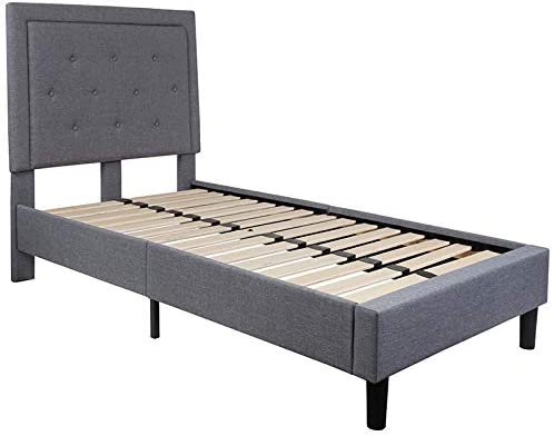 Emma Oliver King Size Panel Tufted Platform Bed in Twin Through King Sizes and Assorted Colors Twin Size, Light Gray