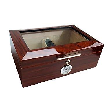 Visol Morello Cherry Finish Glass Top Cigar Humidor, 100 Cigars