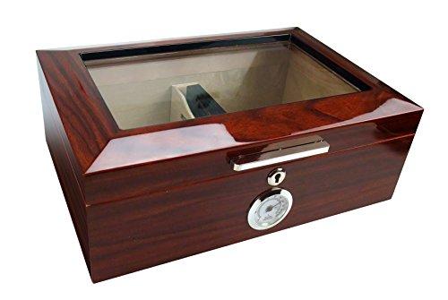 Visol Morello Cherry Finish Glass Top Cigar Humidor, 100 (Cherry Finish Cigar Humidor)
