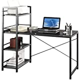 Techni Mobili Computer Desk with 4-Tier Shelf - Glass