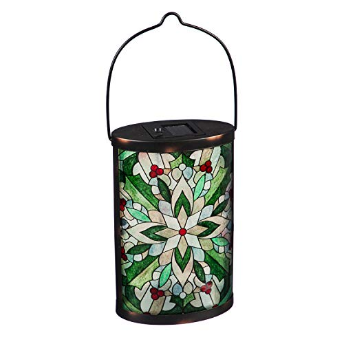 Evergreen Garden Alluring Stained Glass Hand-Painted Mosaic Holly Medallion Solar Glass Lantern - 7