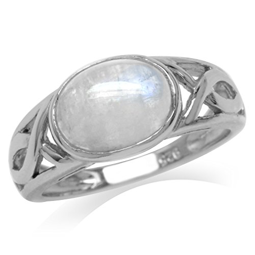 (Natural Moonstone White Gold Plated 925 Sterling Silver Christian Fish Ring Size 8)