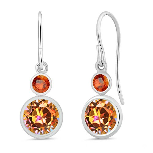 Gem Stone King 2.16 Ct Round Ecstasy Mystic Topaz Orange Sapphire 925 Sterling Silver Earrings