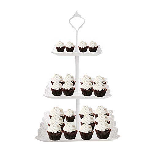 3 Tier Cupcake Stand, Square Fruit Cakes Cookies Dessert Serving Stand Plastic Tower Tray for Wedding Home Birthday Tea Party Baby Shower, White