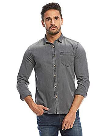 Flying Machine Grey Shirt Neck Shirts For Men