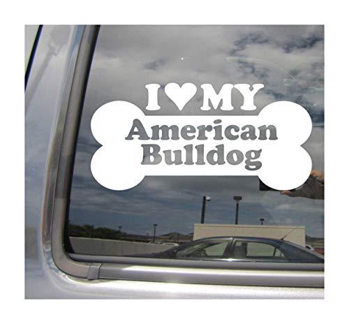 I Heart Love My American Bulldog - Dog Bone Southern White English Country Purebred Cars Trucks Moped Helmet Hard Hat Surfboard Auto Automotive Craft Laptop Vinyl Decal Store Window Wall Sticker 13043 ()