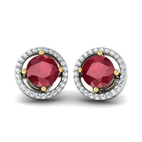 14K Or blanc 0,26CT TW White-diamond (IJ | SI) et rubis Boucles d'oreille à tige