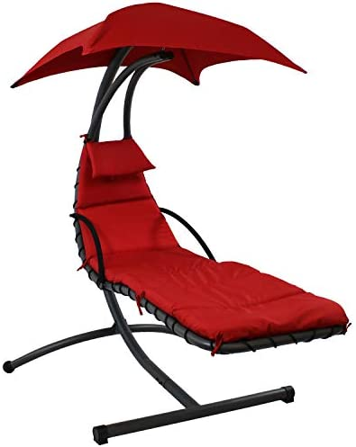 Sunnydaze Floating Chaise Lounger, Outdoor Hanging Hammock Patio Swing Chair with Canopy and Arc Stand, Burnt Orange