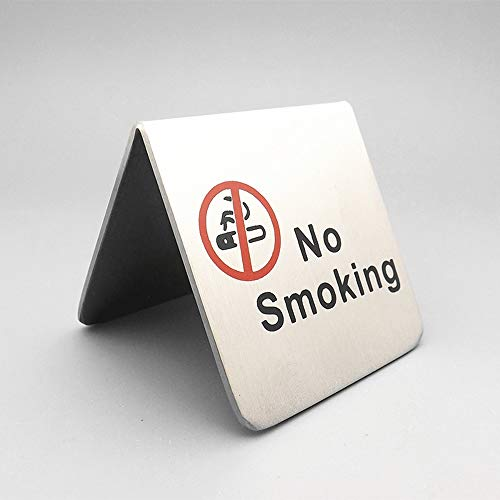l No Smoking Sign Tent Card Double Side Warning Restaurant Hotel Non-Smoking Desk Logo Table Display Stand (Red) ()