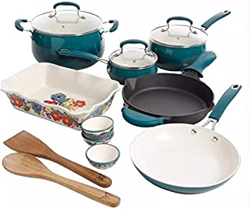 Pioneer Woman 17 Piece Cookware Set – Porcelain Enamel Ceramic Nonstick Aluminum with Cast Iron Skillet Ocean Teal Classic Belly