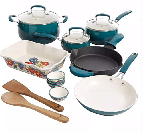 Pioneer Woman 17 Piece Cookware Set - Porcelain Enamel Ceram