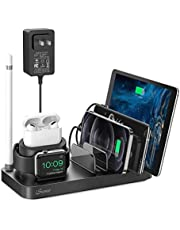 Charging Station, iSeneo Charging Station for Multiple Devices, 40.5W Adapter and AirPods Cable Included, Charging Dock for iPhone, AirPods, iWatch, iPad, Android(Device Charging Cables not Included)